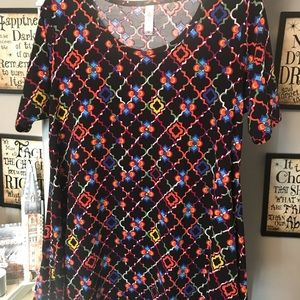 Black with multicolor pattern LulaRoe Perfect Tee